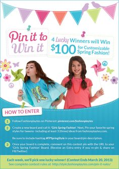 ENTER TO WIN a 100 gift card to @FashionPlaytes!  Follow the steps in this pin to enter.