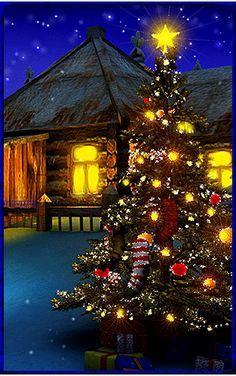 Merry Christmas Gif, Christmas Scenery, Beautiful Christmas Trees, Merry Christmas And Happy New Year, Christmas Images, Christmas Art, Christmas Greetings, Winter Christmas, Christmas Lights