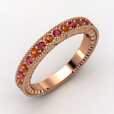 Gemvara - Victoria Band. Fire Opal & Ruby with 14K Rose Gold. Like a hearty fireplace on a cold winter evening.