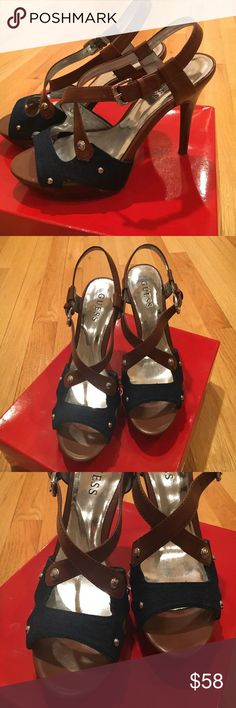 """Guess Brienne heels 🥂these are in brand-new condition, very little signs of wear to heal. 4.5"""" heel Guess Shoes Sandals"""