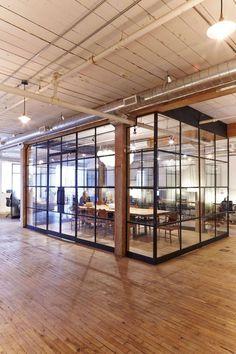 40 Elegant Open Ceiling Office Design Ideas - Office & Workspace - Home Office Open Office Design, Open Space Office, Loft Office, Glass Office, Office Workspace, Office Interior Design, Office Interiors, Buy Office, Office Designs