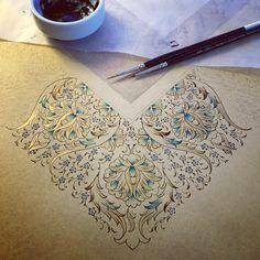 Dilara Yarcı - Tezhip (Border of an Islamic mandela motif) Islamic Art Pattern, Arabic Pattern, Pattern Art, Pattern Design, Illuminated Letters, Illuminated Manuscript, Islamic Calligraphy, Calligraphy Art, Ant Drawing