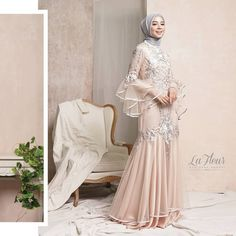 13 Perfect Wedding Dresses For Curvy Brides Hijab Gown, Kebaya Hijab, Hijab Dress Party, Hijab Style Dress, Kebaya Dress, Dress Pesta, Dress Brokat Muslim, Muslim Gown, Kebaya Muslim