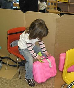 Theater: Airport dramatic play, great for a transportation unit. You could even make a bus, or train.