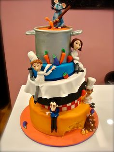 Ratatouille, my hubby's favorite kids movie! Disney Cakes and Sweets. Pretty Cakes, Cute Cakes, Beautiful Cakes, Amazing Cakes, Crazy Cakes, Fancy Cakes, Fondant Cakes, Cupcake Cakes, Character Cakes