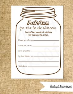 Advice Cards For The Bride And Groom Instant By Aestheticjourneys 8 00