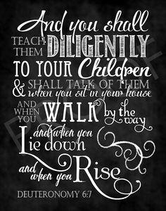 Scripture Art Deuteronomy 6:7 Chalkboard by ToSuchAsTheseDesigns