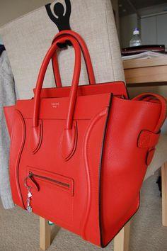 Celine Vermillion Mini Luggage