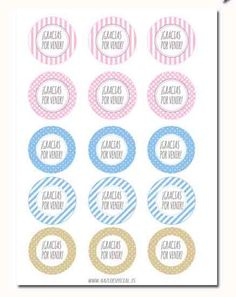 Etiqueta circular imprimible Gracias por venir by HAZLOESPECIAL