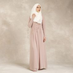 INAYAH | Pale Blush Georgette #Abaya + Off-White Georgette #Hijab  www.inayahcollection.com