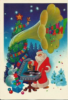Vintage Russian Postcard - Happy New Year - Congratulation  Santa with gramophone