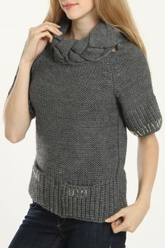 #Gray Braided Collar Sweater  simple women #2dayslook #new women #simplefashion  www.2dayslook.com