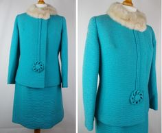Vintage 1960s Skirt Suit Two Piece Suit with Fur Collar Turquoise Blue Small by BlackcatsvintageUK on Etsy
