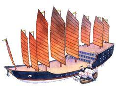Zheng He's Ship in comparison to Columbus' Ship. Zheng He's Ship was known to be up to ten times larger than Columbus'.