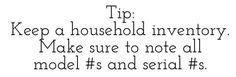 Tip: Keep a household Inventory list via lilblueboo.com
