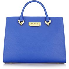 ZAC Zac Posen Eartha textured-leather tote ($298) ❤ liked on Polyvore featuring bags, handbags, tote bags, cobalt blue, zippered tote, blue purse, zip tote, blue tote bag and zip top tote