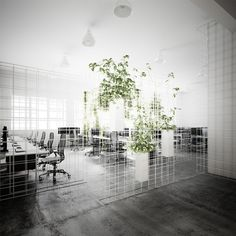 Australian design studio Sibling installed a grid system based on 3D rendering programmes to define the working areas within the Melbourne headquarters of digital animation studio Squint/Opera.