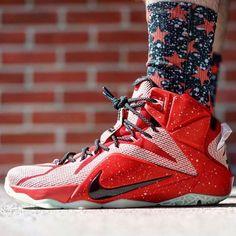Bred All Star Socks x Lebron 12 iD : @6kicks  Follow my boy @6kicks Mean sneaker game holding it down for the 6!