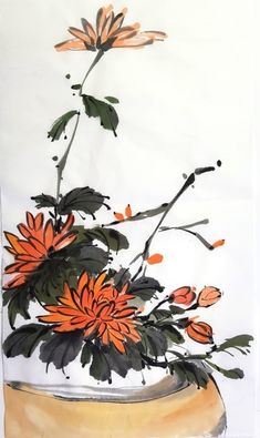 Japanese Ink Painting, Sumi E Painting, Chinese Painting, Chinese Art, Watercolor Paintings, Chrysanthemum Drawing, Bamboo Art, Watercolor Wallpaper, Trendy Nail Art