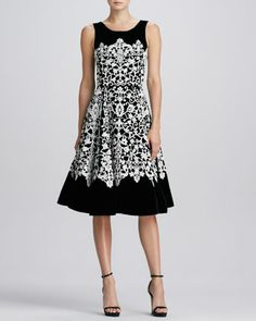 Jewel-Neck Guipure Lace Dress, Black/Ivory by Oscar de la Renta at Neiman Marcus.
