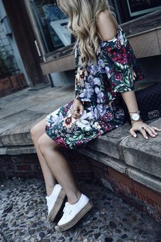 Summer Street Style 2017 Blogger Outfit girly edgy chic off shoulder dress flower print dress