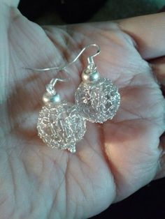 Knitted Silver Earrings
