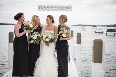 Wedding Bells: Maggie & Matt – Vera Wang Gown – Lake Geneva Wedding Photographer » Amanda Megan Miller Photography, boat wedding, dockside wedding, harbor wedding, black bridesmaids dress
