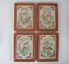 Vtg Needlework Completed 4 Seasons Birds Framed with Glass Red Green Brown   Crafts, Handcrafted & Finished Pieces, Needle Arts & Crafts   eBay!