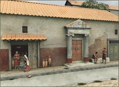 A reconstruction of a Roman domus, or a house. Much like in large cities of today, only the wealthy could afford a true house in the city. Houses often had storefronts that they rented out to tenants which speaks to the expense of maintaining a household (and slaves).