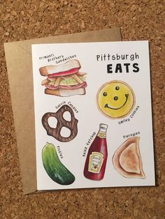 Pittsburgh Greeting Card / Pittsburghese Gift / Pittsburgh Food Card / Primanti Bros Eatn Park Heinz Food Stationery / Gift for Yinzer by ErinSunshineKenna on Etsy https://www.etsy.com/listing/526114831/pittsburgh-greeting-card-pittsburghese
