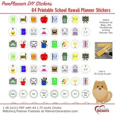 64 Kawaii Printable School Planner Stickers by DigiScrapDelights