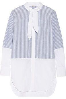 Adam Lippes Striped cotton-poplin shirt   NET-A-PORTER