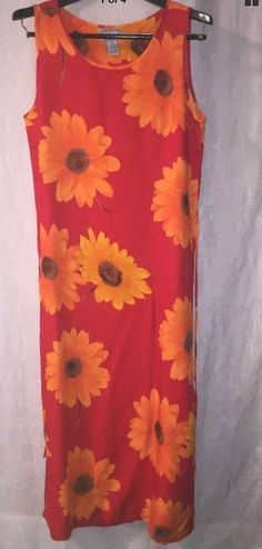 12ac6d95291d8 Details about JANE ASHLEY Small Medium M Dress Red   Yellow Daisy Floral  Long Rayon Sundress