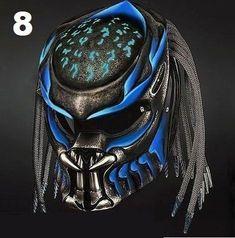 Alien Predator Helmet Street Fighter Blue Doff - DOT Approved For Bikers Motorcycle Events, Custom Motorcycle Helmets, Custom Helmets, Motorcycle Style, Bike Helmets, Women Motorcycle, Trike Motorcycle, Motorcycle Fashion, Motorcycle Clubs