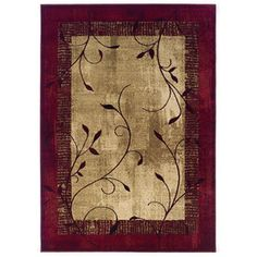 allen + roth Tinsley 5-ft 3-in x 7-ft 6-in Rectangular Red Border Area Rug...not sure if this one or the 7-ft 6-in or 7-ft 8-in x 10-ft 10-in would fit better in our living room.