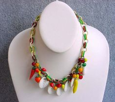 """30s Venetian Glass Vegetable Fruit Salad Necklace Celluloid Chain Runway Choker 16"""" Vintage Costume Jewelry Green White Red Yellow Orange"""
