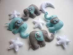 Dreamtime Baby Elephants  Baby Blue and Grey Felt by MaisieMooNZ, $85.00. Ordering this for Kaiden's nursery
