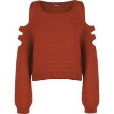 Aniya Knitted Off Shoulder Jumper ($23) ❤ liked on Polyvore featuring tops, sweaters, rust, cut out crop top, red off the shoulder sweater, cold shoulder sweater, crop top and off the shoulder sweater