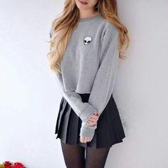 Buy Women Fashion T Shirt Long Sleeve O-Neck Casual Tops Alien Print Top Tees Blusas Plus Size at Wish - Shopping Made Fun Teen Fashion, Korean Fashion, Fashion Outfits, Fasion, Style Fashion, Mode Ulzzang, Fall Outfits, Casual Outfits, Casual Dresses
