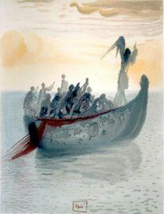 "Purgatorio, Canto II, Salvador Dali, ""Ship of souls"""