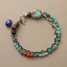 GRACE & STRENGTH BRACELET: An oxidized sterling chain joins forces with a strand of turquoise, coral, and faceted lapis beads, bound together with a. Beaded Jewelry, Jewelry Bracelets, Jewelery, Necklaces, Diy Jewellery, Gemstone Bracelets, Artisan Jewelry, Handcrafted Jewelry, Unique Jewelry
