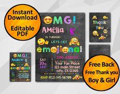 Emoji invitation instant download 5x7 - free back and thank you -pink girl blue boy emoji party editable chalkboard #emoji #invitation