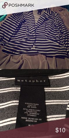 Black and White Striped Blazer This black and white striped blazer is from Metaphor. It was too big for me so I have to sell it. There is a tiny amount of piling but still in good condition. From a pet and smoke free home. Metaphor Jackets & Coats Blazers