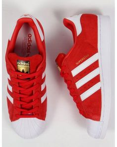 Adidas Superstar Suede Trainers Red/white,originals,shell toe,shoe