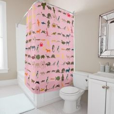 #Colorful Animals Pattern #7 Shower Curtain - #Bathroom #Accessories #home #living