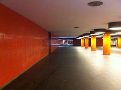 Unterführung Messedamm Architecture Berlin Built Structure Capture Berlin Colorful Day Empty Illuminated Indoors  Light And Shadow Messe Berlin Messedamm No People Orange Color Photography Subway The Way Forward Town Traveling Underground Underground Station  Urban Urbanphotography