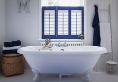 Buy custom interior plantation window shutters at the best prices. Expert Plantation Shutter and Solid Wooden Shutters made to fit your windows. The Shutter Store. Modern Interior Shutters, Best Interior Paint, Blue Shutters, Diy Shutters, Interior Design Degree, Home Interior Design, Bathroom Window Coverings, Vinyl Window Trim, Yellow Bathrooms