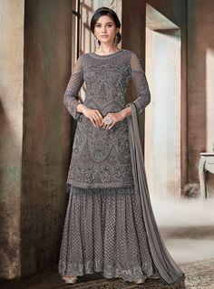 Grey Glam Multi Embroidered Flared Gharara Suit in 2019 Gharara gray color sharara - Gray Things Trajes Pakistani, Pakistani Suits, Pakistani Dresses, Indian Dresses, Indian Outfits, Designer Salwar Kameez, Indian Salwar Kameez, Designer Anarkali, Sharara Designs