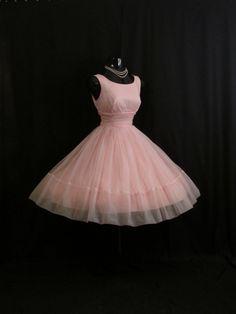Vintage 1950 años 50 Bombshell rosa Organza gasa por VintageVortex