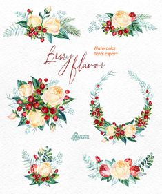 Berry Flavor. Watercolor Bouquets and Wreath, hand painted clipart, floral, roses, christmas, winter, greeting card, diy, new year, flowers by OctopusArtis